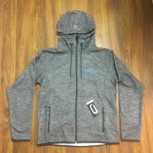 asphalt heather drytech fleece jacket - blue embroid