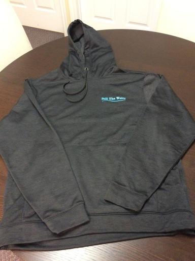 black everyday hoodie - blue embroid