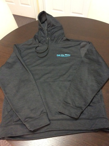 black everyday hoodie - blue embroid