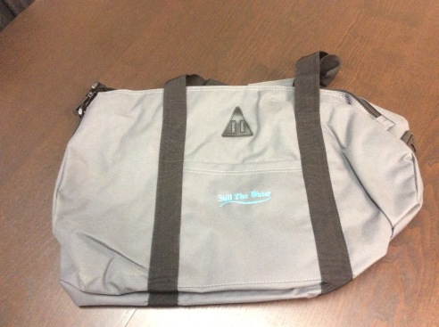 retro grey duffle bag